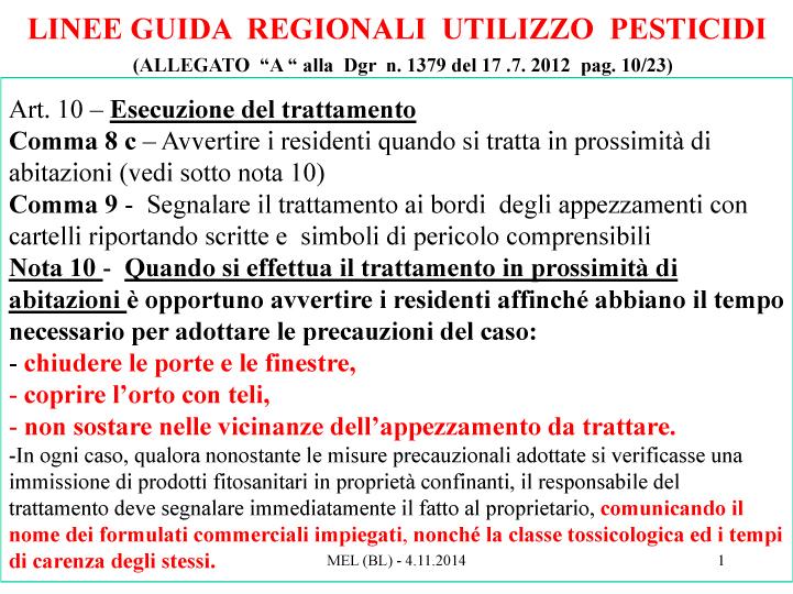 Microsoft PowerPoint - Pesticidi - DGR Regionale 1379_2012 - coi